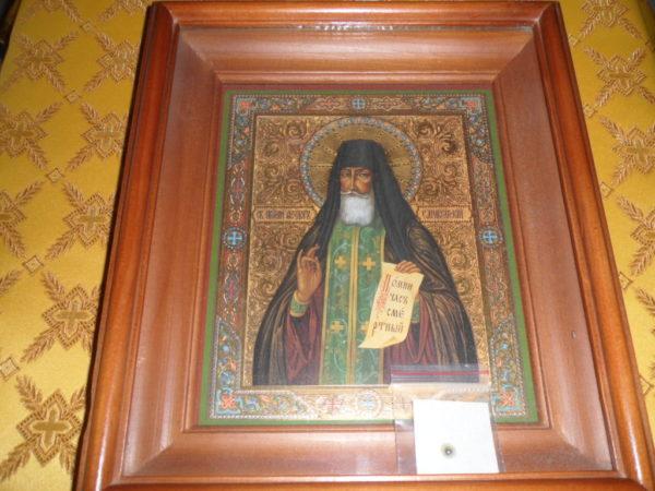Икона преподобного Феодора Санаксарского с частицей его святых мощей
