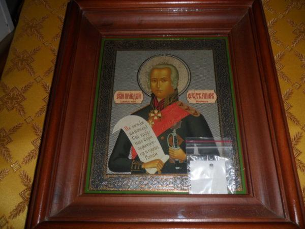 Икона святого праведного Феодора Ушакова с частицей его святых мощей